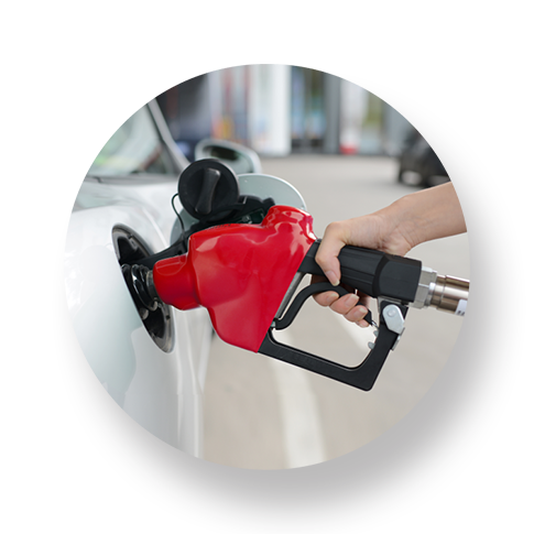 Customer selects pump, applies fuel rewards and pays for gas with vaulted card