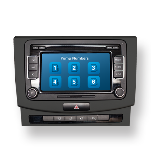 Vehicle or mobile device retrieves and displays site info (pump #s, loyalty offers) through head unit or mobile app